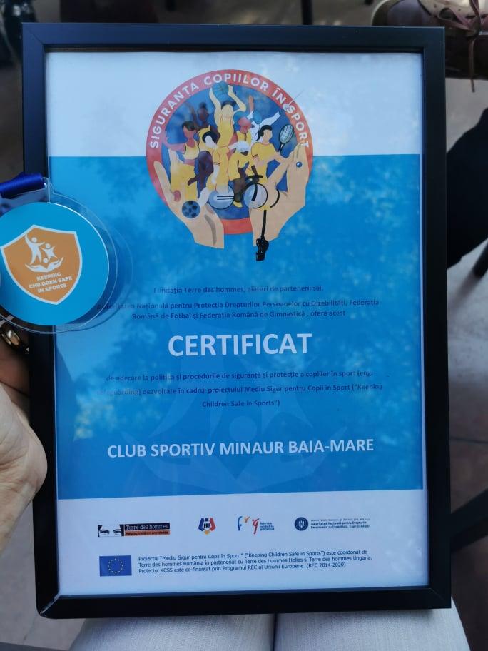 CS Minaur a semnat un angajament în cadrul proiectului Mediu sigur pentru copii în sport
